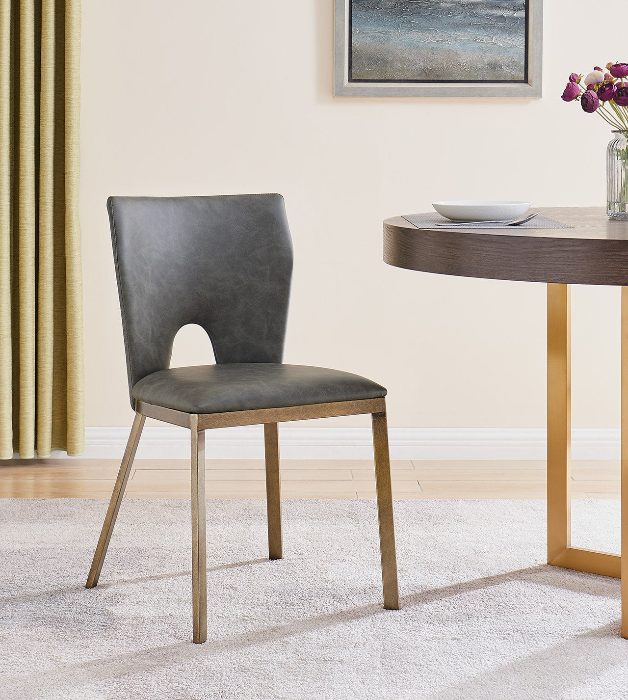 Ella Dining Chair - Brass/ Vintage Grey Faux Leather