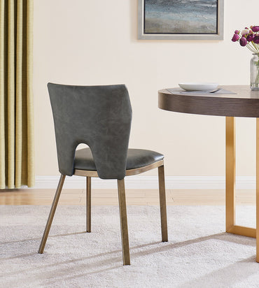 Ella Dining Chair - Brass/ Grey Linen