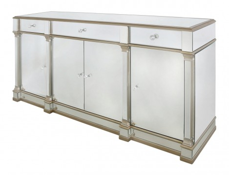 Atlantis Champagne Mirrored 4 Door 3 Drawer Sideboard