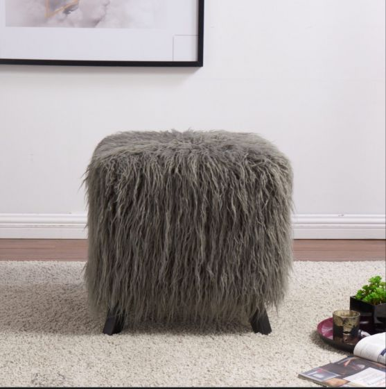 Faux Sheepskin Cube Stool
