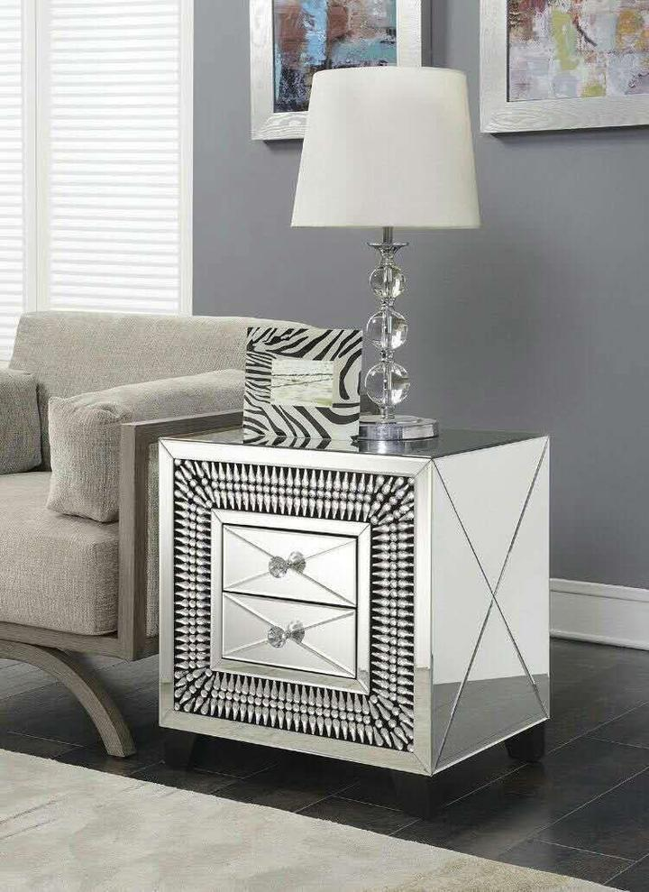 Crystal 2 Drawer End Table