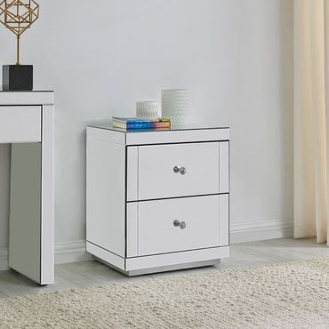 Hollywood 2 Drawer Side Table-Glass