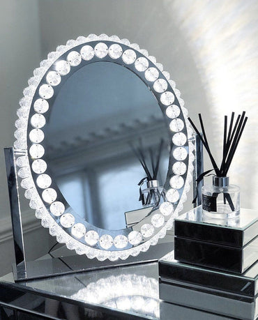 Oval Diamonte Mirror