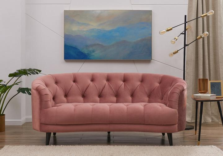 Seattle Love Seat - Pink Velvet floor display