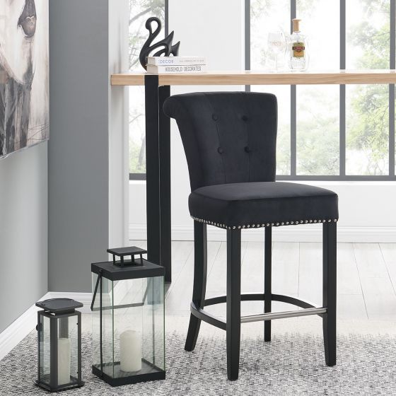 Knocker Breakfast Stools- Black Velvet