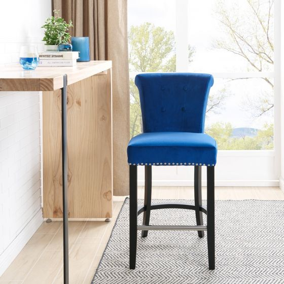 Knocker Breakfast Stools- Blue Velvet