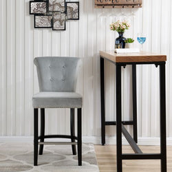 Knocker Breakfast Stools- Silver Velvet