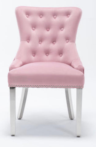 Pink Velvet Knocker Belvedere Chairs