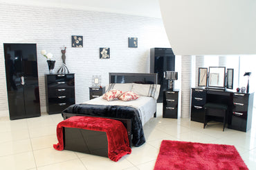 HI GLOSS BLACK BEDROOM COLLECTION