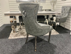 Louis 1.8m with 6 Leather Belvedere Chairs