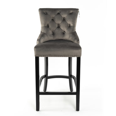 Light grey velvet With Round Knocker and Oak legs