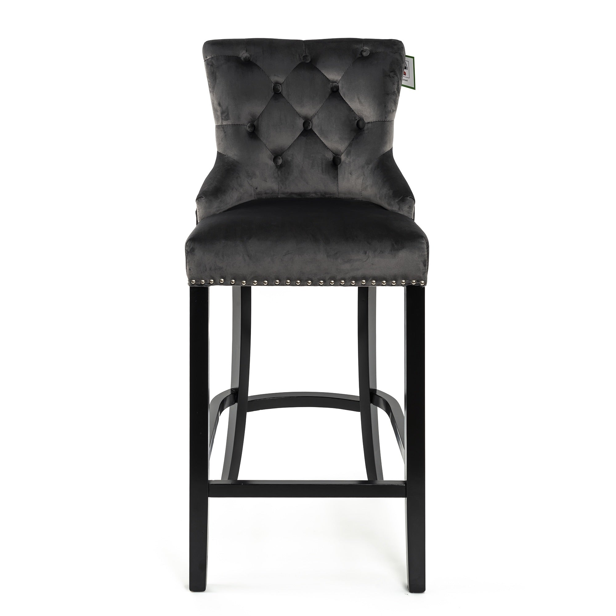 Dark grey velvet With Round Knocker and Oak legs