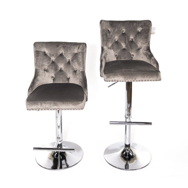 Light Gray Velvet Barstool With Round Knocker and Chrome legs