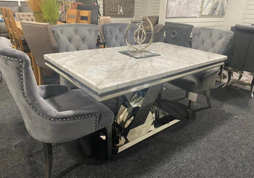 Sylvia - 1.5m - With 4 grey velvet Belvedere chairs