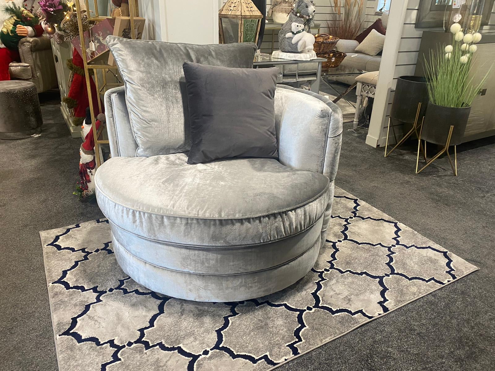 Navy and Silver Rug