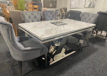 Sylvia - 1.5m - With 6 grey velvet belvedere knocker chairs