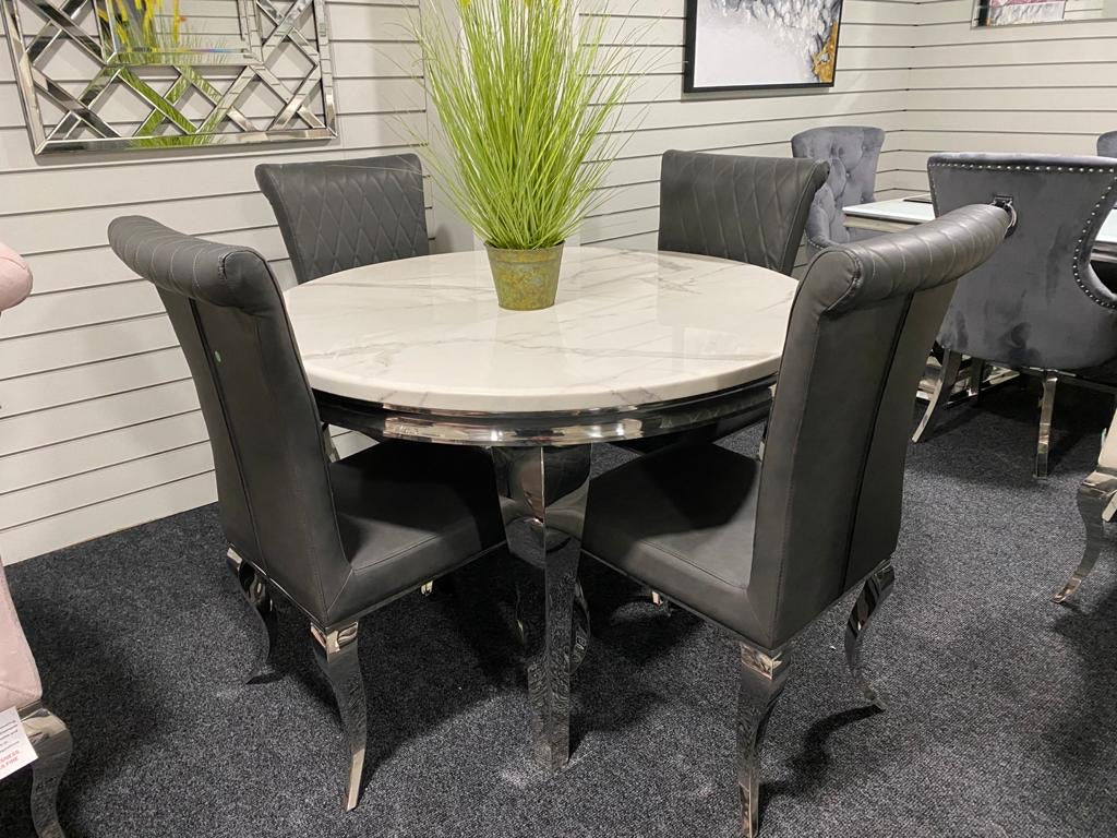 louis Dining Table 1.2m Round with 4 Grey Leather Nicole Chairs