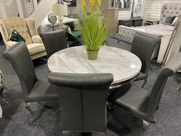 Sylvia Dining Table 1.2m - Round with 6 Dark Grey Leather Nicole Chairs