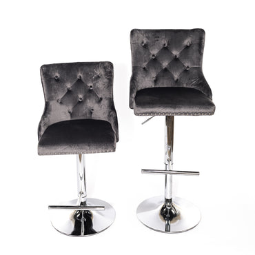 Dark Gray Velvet Barstool With Round Knocker and Chrome legs