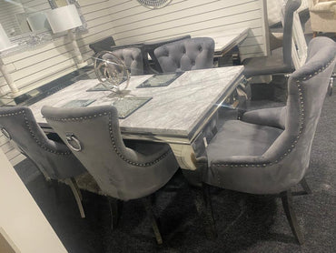 Louis 1.8m with 6 Velvet Belvedere Chairs