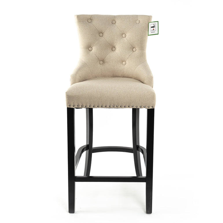 Off White Linen Barstool With Round Knocker and Oak legs