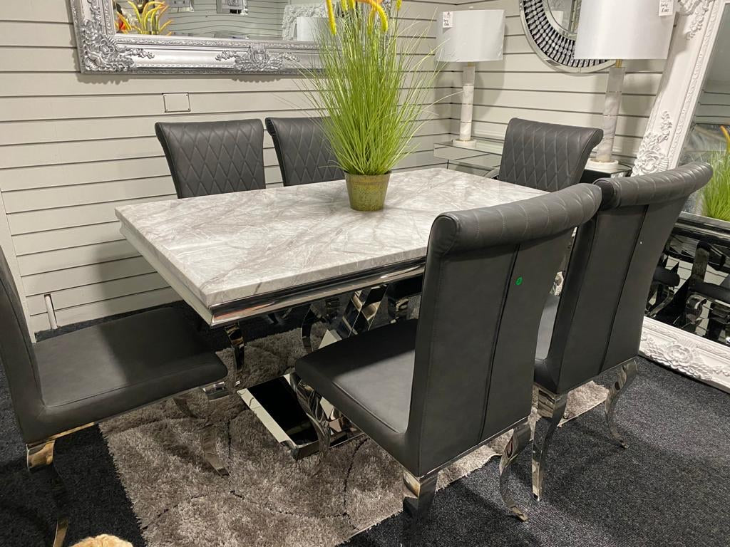 1.5m Sylvia Grey Marble and 4 or 6 Grey Nicole Chairs