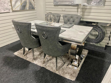 Arianna 1.8m with 6 Leather Belvedere Chairs