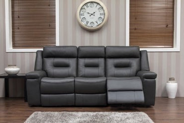OSBOURNE LEATHER SOFA - DARK GREY SUITE