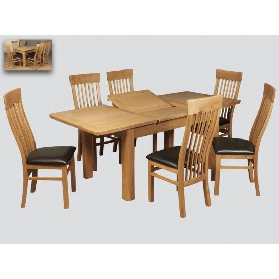 Treviso 140cm Butterfly Extension Dining Set (6 Chairs)