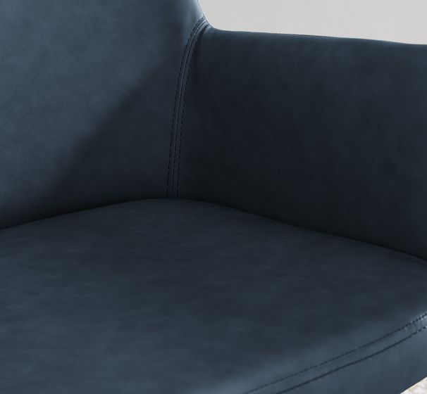 Leigh Armchair - Brass/ Night Blue Faux Leather
