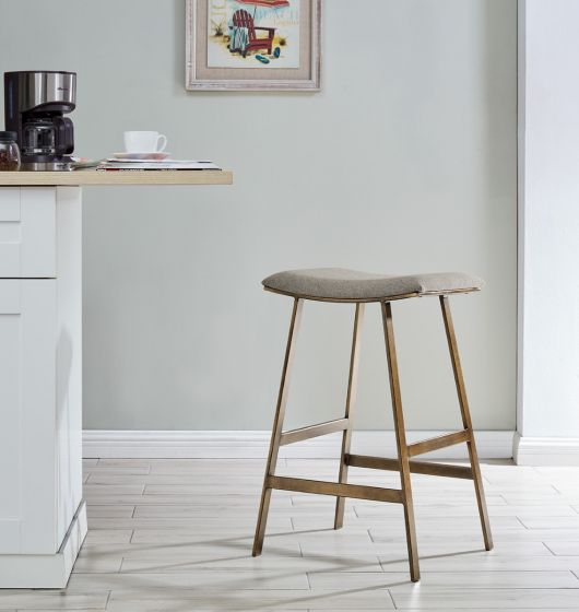 Dixon Bar Stool - Brass/ Beige Linen