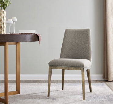 Bay Dining Chair Brass/ Beige Linen