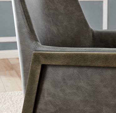 Leigh Armchair - Brass/ Vintage Grey Faux Leather