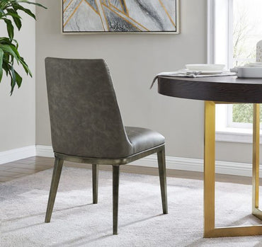Bay dining chair - Brass/ Vintage Grey Faux Leather