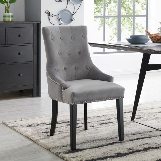 Lion Chair - Silver Velvet