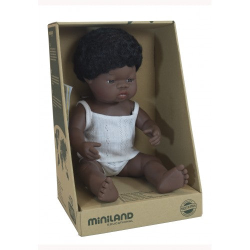 Miniland Doll, Anatomically Correct Baby, African Down Syndrome Boy, 38cm