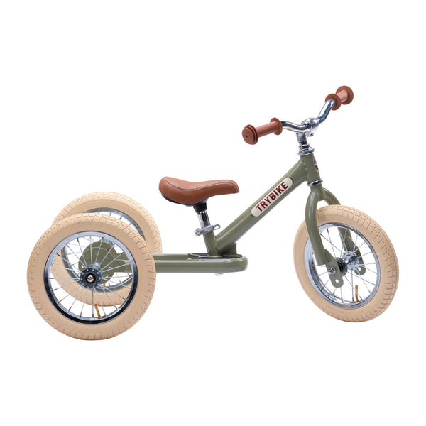 Trybike Green Vintage 2 in 1 Balance Bike