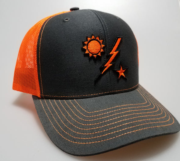 Hat - Richardson 75th DUI Raised Outline Gray with Orange Mesh
