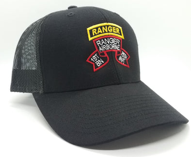 Hat - 1st Bn Old Scroll Black Trucker