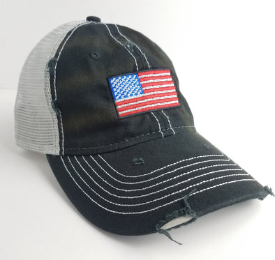Hat - American Flag Black Weathered Trucker