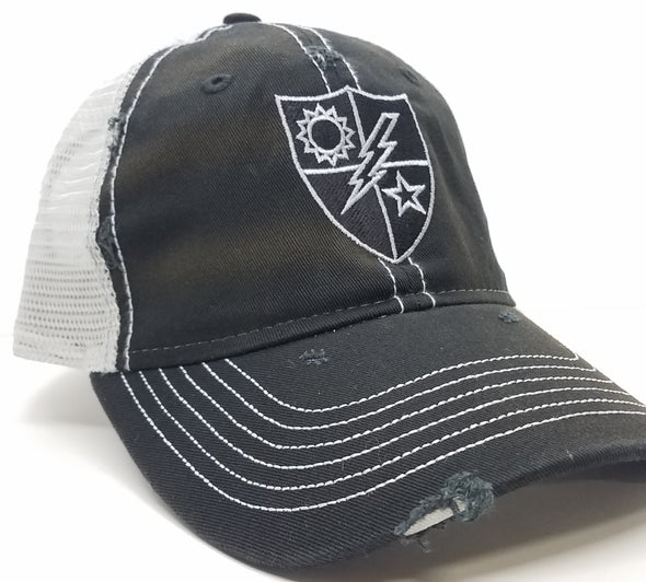 Black Weathered Trucker 75th DUI Black and Silver