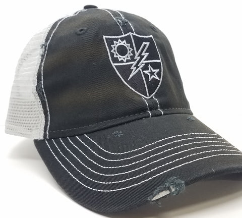 Hat - Black Weathered Trucker Black and Silver 75th DUI Shield