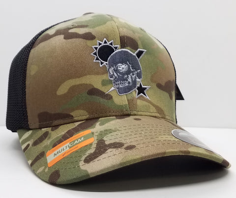 Hat - Scroll Skull Multicam Flexfit Trucker