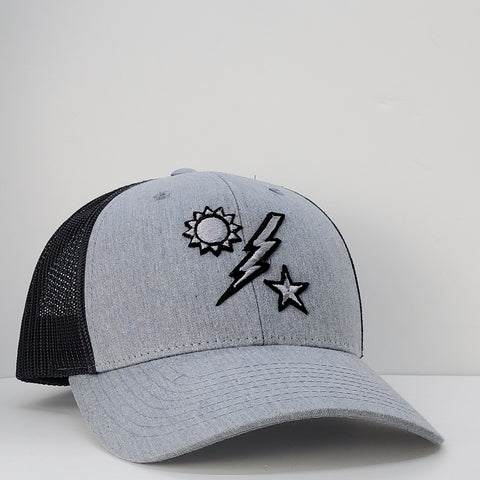 Hat -  Richardson 75th DUI Raised Outline Gray with Charcoal Mesh