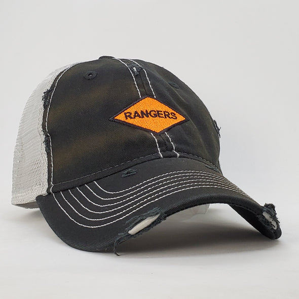Rangers Orange Diamond Black Weathered Trucker