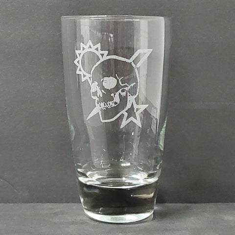 18 oz Glass - Scroll Skull