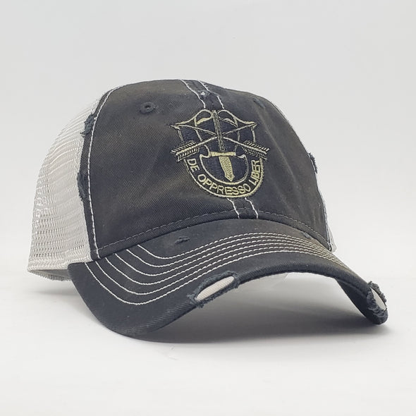 SF Crest Black Weathered Trucker