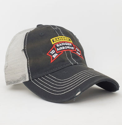 Hat - 2d Bn Old Scroll Black Weathered Trucker