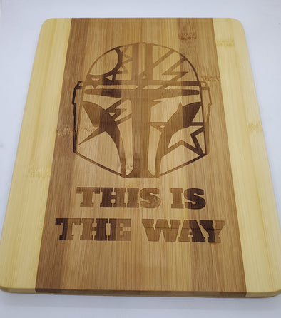 Bamboo Cutting board - Mando 75th Helmet