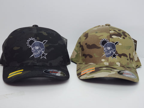 Hat - Scroll Skull Flexfit Multicam